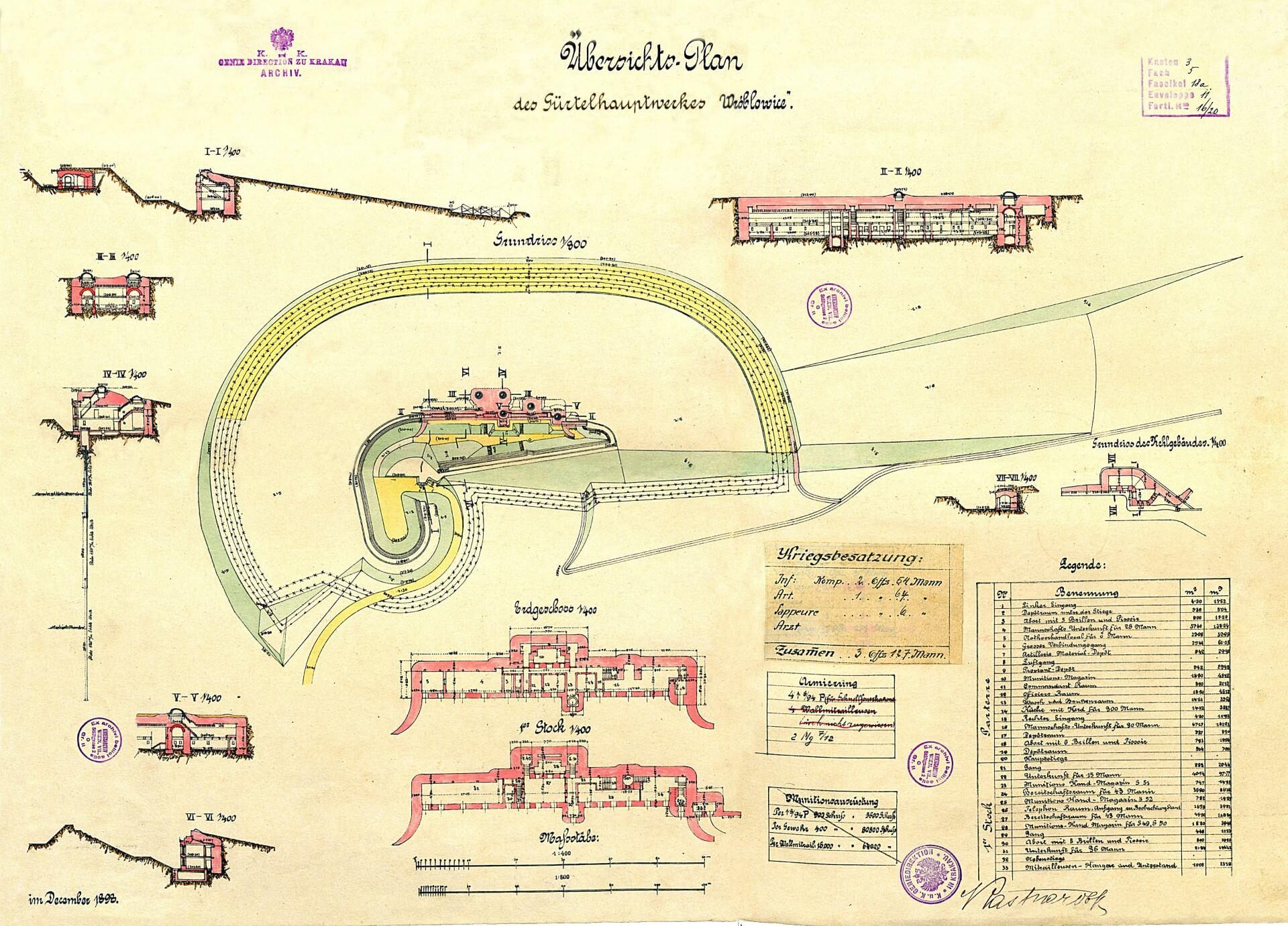 Fort Swoszowice. Archiwalny plan z 1898 roku Fortu Wróblowice (dawna nazwa)