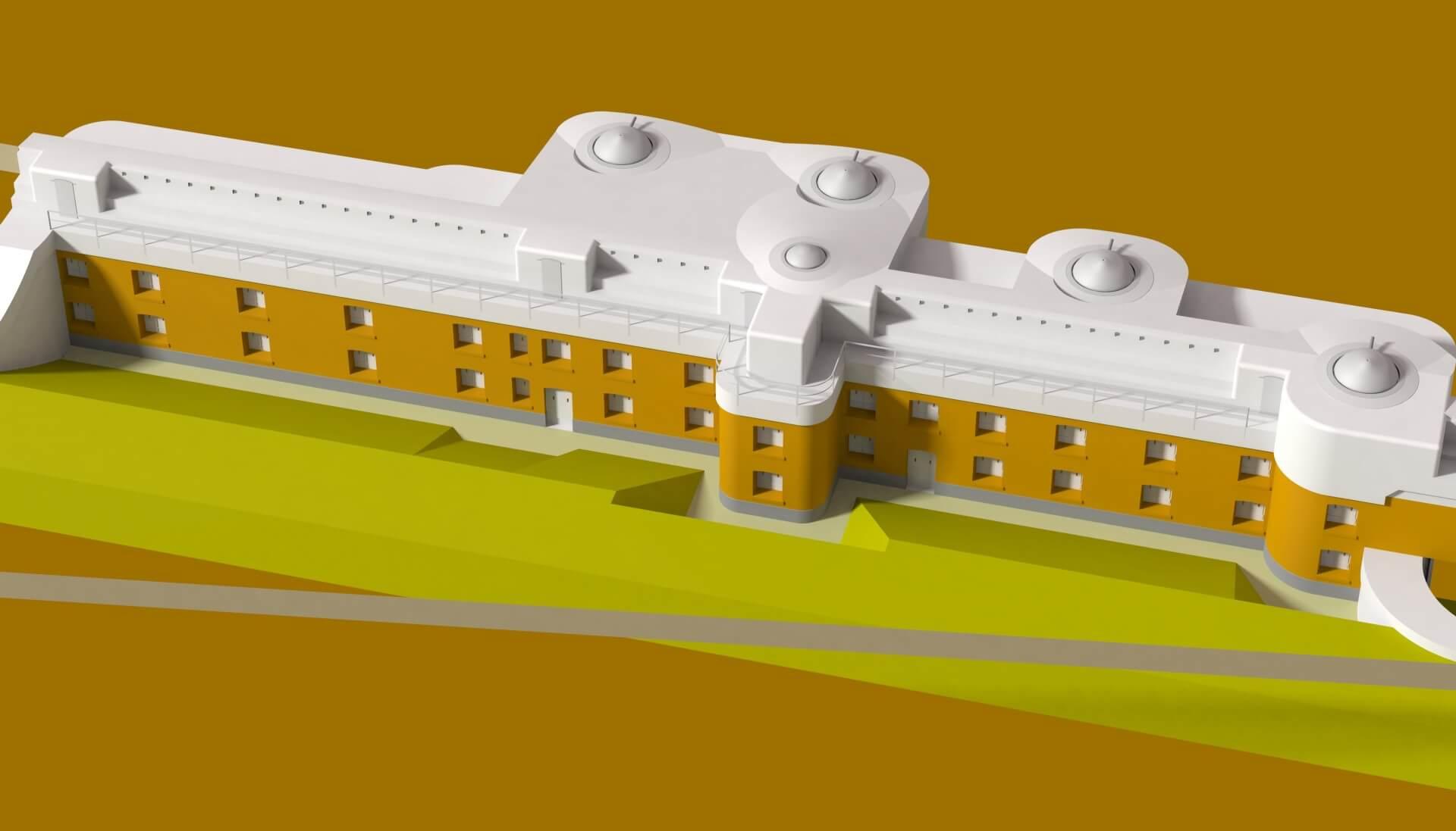 Wizualizacja pierwotnego wyglądu budynku Fortu Wróblowice (obecnie Fort Swoszowice) z działami. / mat. arch. MSWojsk