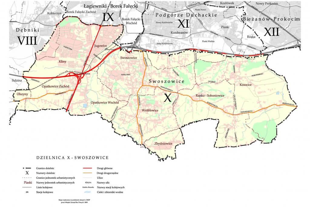 Mapa dzielnic w Krakowie