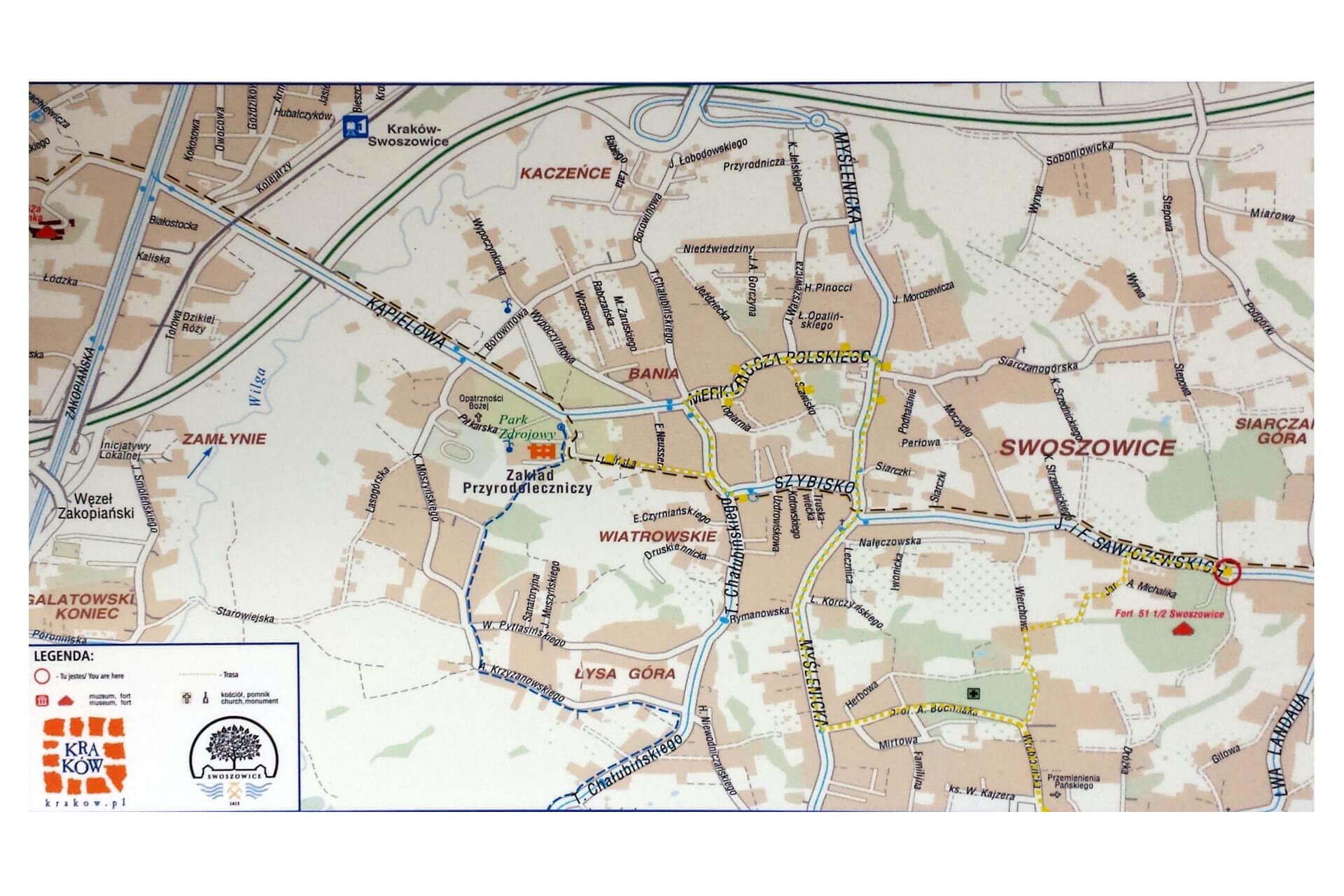 mapa Szlaku Górnictwa Siarkowego w Swoszowicach