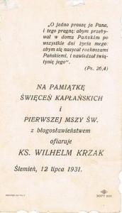 Obrazek prymicyjny ks. Wilhelma Krzaka. Tragedia księży z parafii we Wróblowicach