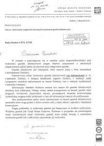 pismo z UMK w spr. nieprawidłowości przy wydawaniu gazetek dzielnicowych