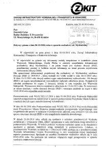 Pismo ZIKiT ws. ul. Myślenickiej s. 1
