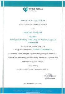 Podziękowania od fundacji BO CIĘ KOCHAM / mat. SP nr 43