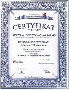Certyfikat Szkoły z Talentem