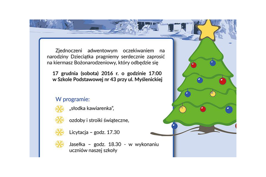 Kiermasz Bożonarodzeniowy w SP nr 43 w Krakowie