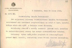 Pismo Kurii krakowskiej do proboszczów parafii gdzie skierowano uchodźców z Wołynia / mat. archiwalny