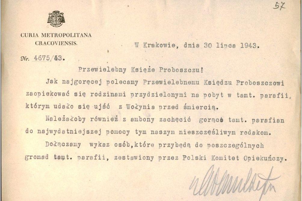 Pismo Kurii krakowskiej do proboszczów parafii gdzie skierowano uchodźców z Wołynia