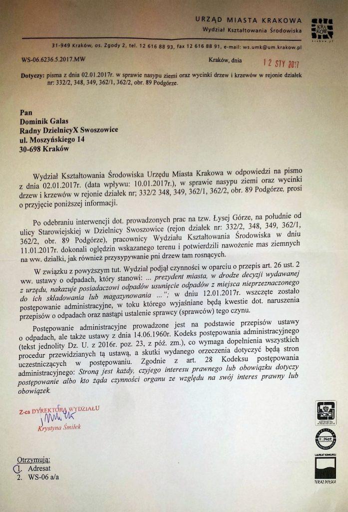 Pismo od Wydziału Kształtowania Środowiska UMK w sprawie nawożenia ziemi na Łysą Górę