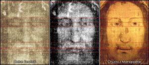Nałożenie obrazów twarzy Jezusa z Całunu Turyńskiego i Chusty z Manopello