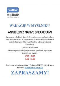 Wakacje w Myślniku - Angielski na native speakerami